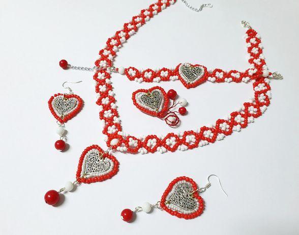 Reducere ! Set handmade rosu, alb, inimioare, inimi, unic, deosebit