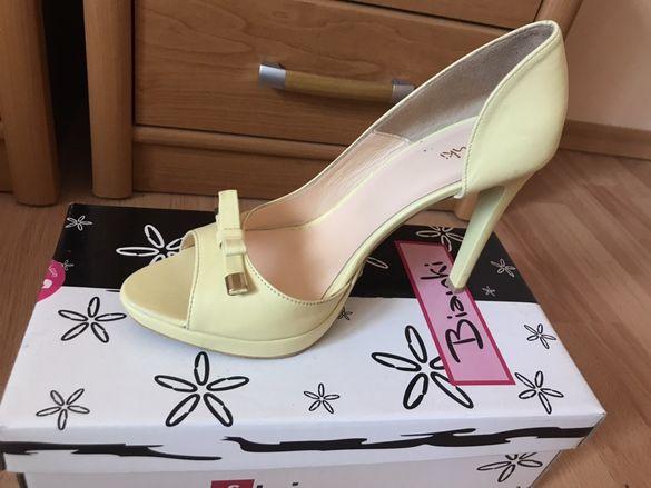 Жълти обувки от естествена кожа