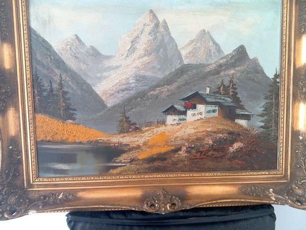 Tablou, pictură veche, ulei/pânză - Peisaj montan RAMA Epoca