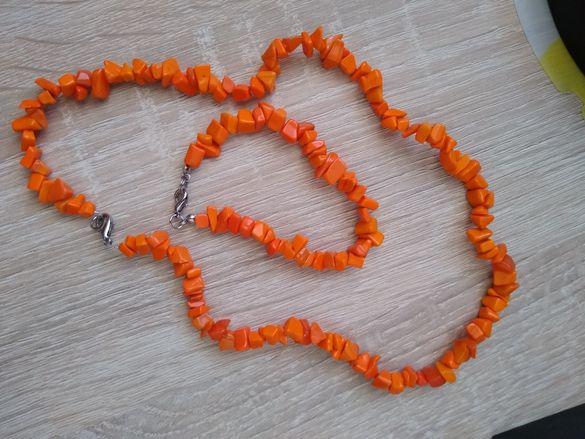 Комплект с оранжев камък
