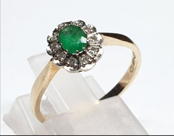 Vechi inel cu smarald si diamante