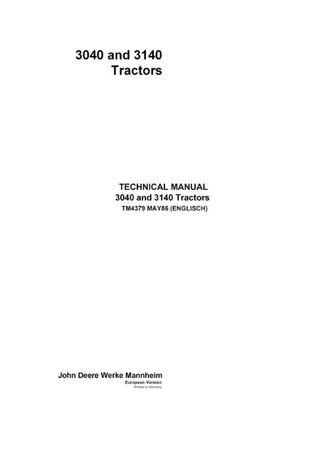 Manual service tractor John Deere 3040 3140 extrem de rar carte
