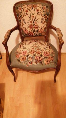 Vintage Scaun Semifotoliu baroc, stil Louis XV, tapiterie din goblen