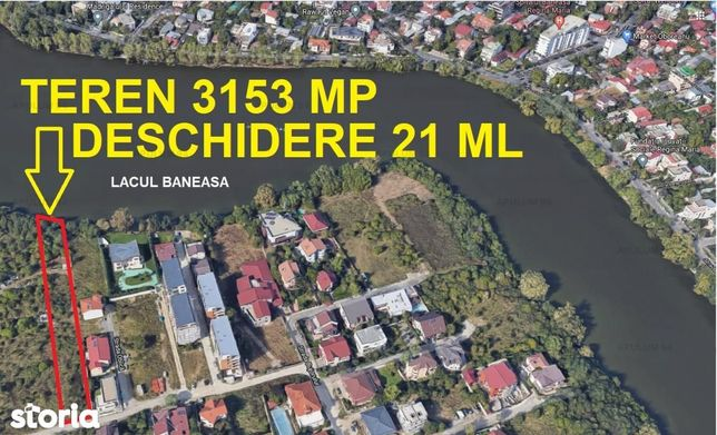 Teren 3153 mp | deschidere 21 ml la Lacul Baneasa | Damaroaia