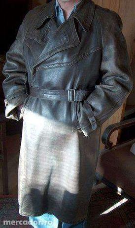 mantou bărbătesc vintage 1930 - 1940, din piele de viţel