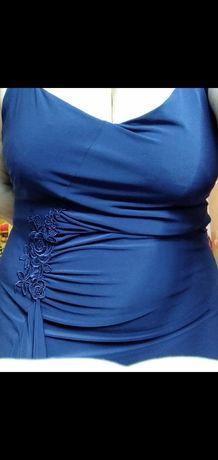 Rochie de ocazie , bleumarin , roz , 44-46 , material ff placut