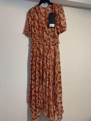 Rochie de cașmir rosie cu imprimeu