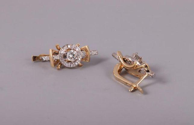 Серьги с бриллиантами, золото 750 (18K), вес 7.90 г. «Ломбард Белый»