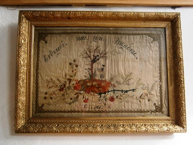 Tapiserie foarte veche (anul 1901) inramata (Goblen)