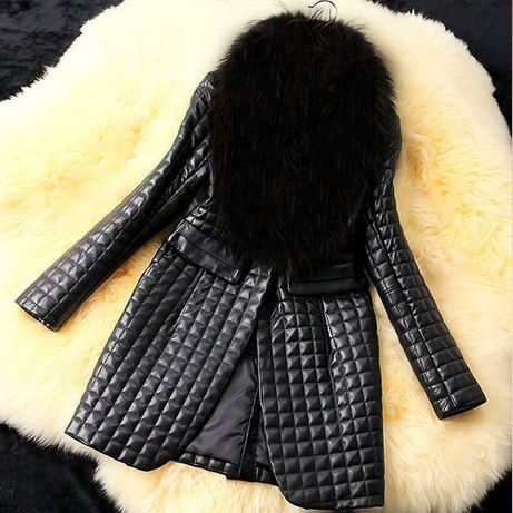 Jacheta din piele compusa din guler cu blana