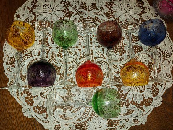 Цветни кристални чаши вино 8бр