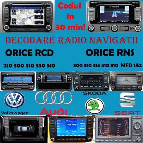 Decodare Navigatii RNS 310 315 510 SKODA VW VOLKSWAGEN Aflare Cod RCD