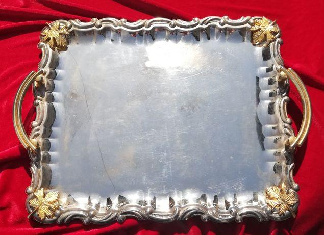 Tava mare platou servire metal argintat ornamente frunze de vie 48x36c
