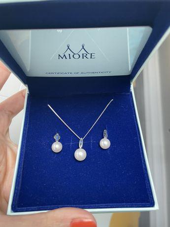 Set Miore cercei colier aur alb perla safire
