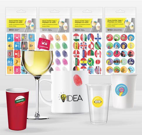 Маркери за чаши стикери за многократна употреба 20 бр - 4 варианта