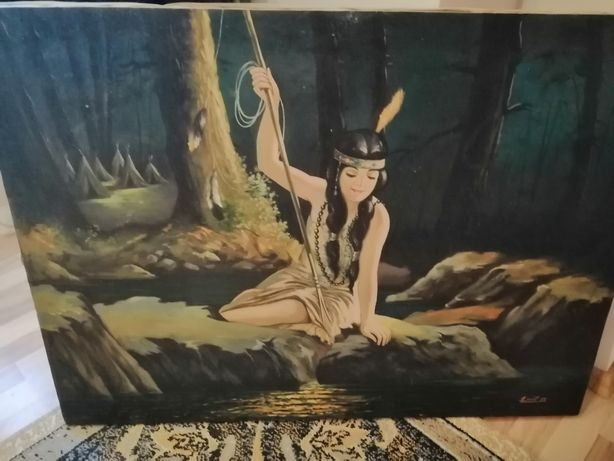 "Tablou "" Indianca la rau"" din 1971"