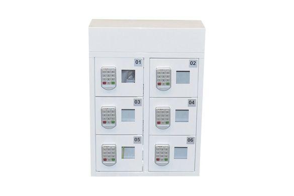 Шкаф със заключващи се кутии за зареждане на мобилни телефони