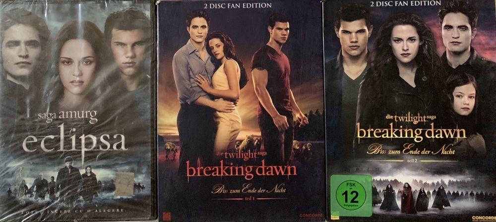 """2 Filme (DVD-uri) Twilight Saga: ,,Zori de zi 1 și 2"""" Bucuresti - imagine 1"""