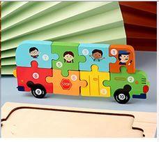 Puzzle lemn 3D Montessori, Autobuz cu cifre, 10 piese