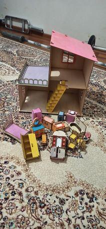 Домик кукольный большой с мебелью