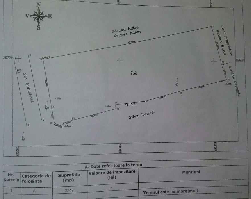 Teren 2747 mp , 31.6 m deschidere Costesti - imagine 1