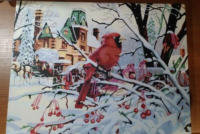 Pictură peisaj de iarnă