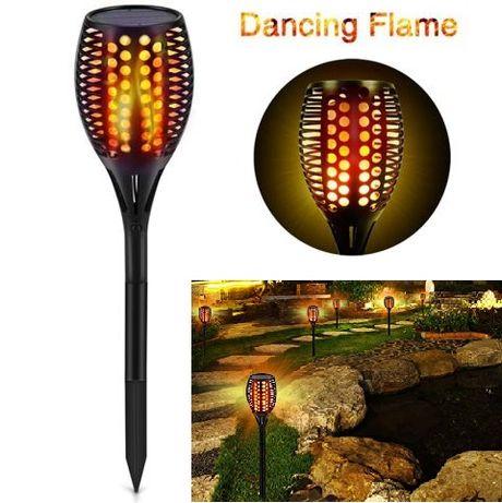 Соларна ЛЕД лампа тип факла имитираща огънен пламък 50 х 8 см