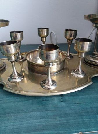 Set tava cu pahare si 2 cupe din alama vechi, argintat