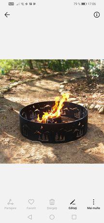 Inel de foc metalic camping padure