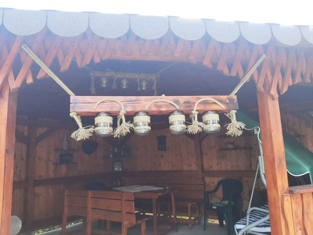 Lustra rustică / lampa rustică lemn masiv foisor, terase sau interior