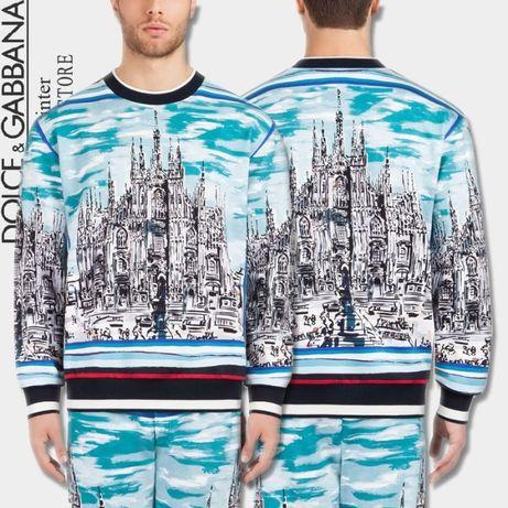 D&G Dolce and Gabbana Blue Majolica Church Мъжка Блуза Пуловер 52 (L)