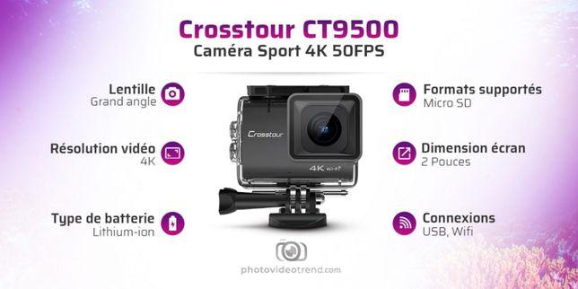 Crosstour CT9500 Native 4K50FPS Action Camera 20MP WiFi Waterproof NOU