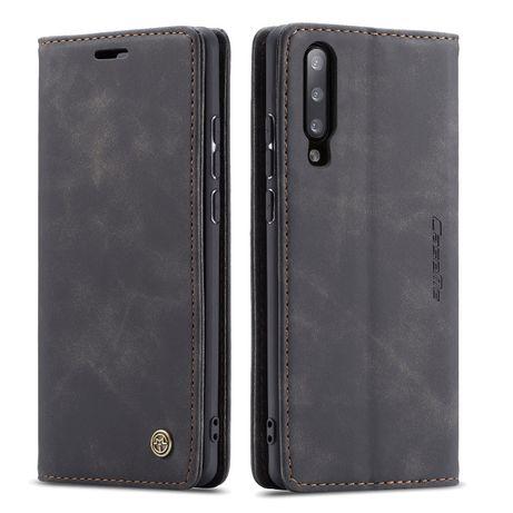 Husa Samsung A70 slim piele, textura catifelata, tip portofel, CaseMe