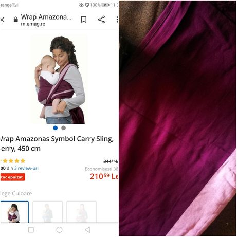 Sistem de purtare bebe - Wrap tesut Amazonas
