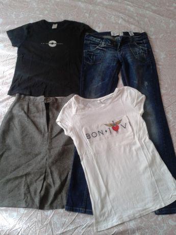 tricou alb Bon Jovi, blugi, fusta si tricou negru mar S second hand