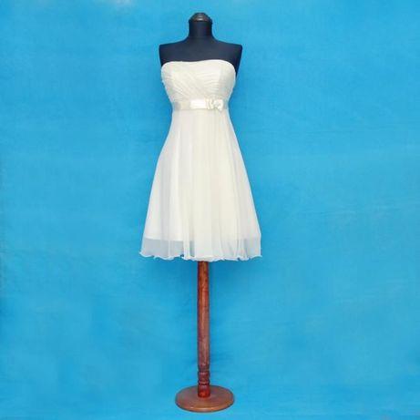 Булчинска рокля къса, с воал за раменете