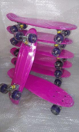 Розов цикламен светещ пениборд скейтборд - skateboard penny board