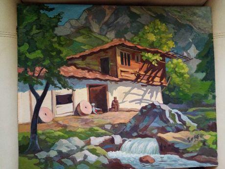 Селска къща - живопис, масло