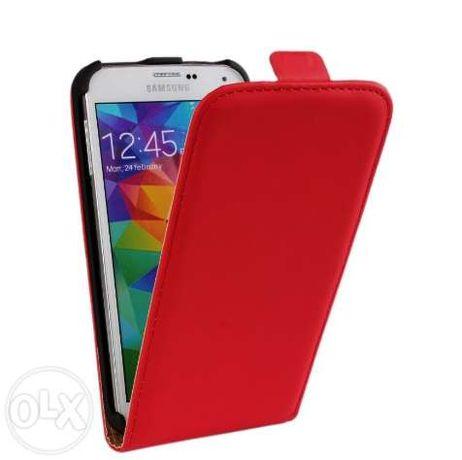 Husa Eleganta TOC PIELE FLIP ROSU Samsung Galaxy S5 G900 + Folie