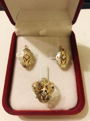 Набор золото с брилл серьги и кольцо 585 Украина