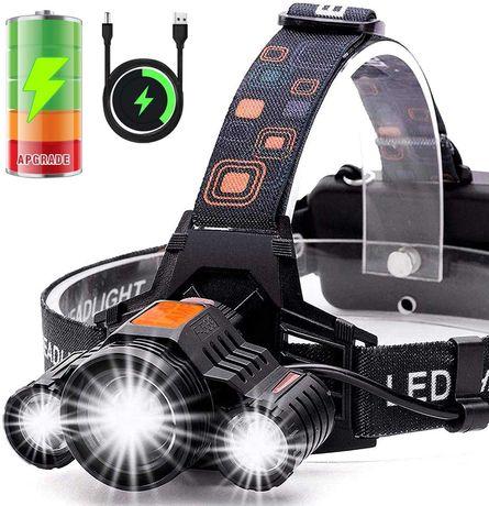 Мощен LED фенер - челник за глава с акумулаторни батерии и 3 LED диода