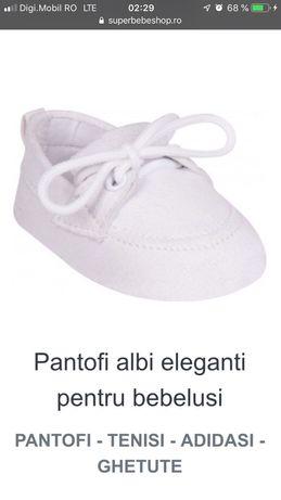 Pantofi albi pentru bebeluși