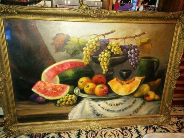 Superba pictura veche pe panza nesemnata