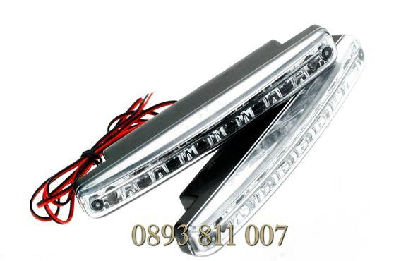 Комплект 2 x 8 Led лед Drl Дневни Светлини, Размери: 16см x 2см/led Dr