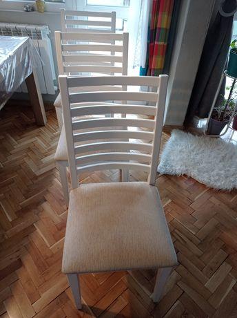 Бял масивен стол 3 бр