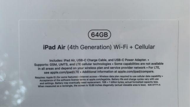 iPad Air 4 (wifi+celluar) 64gb, silver. Новый