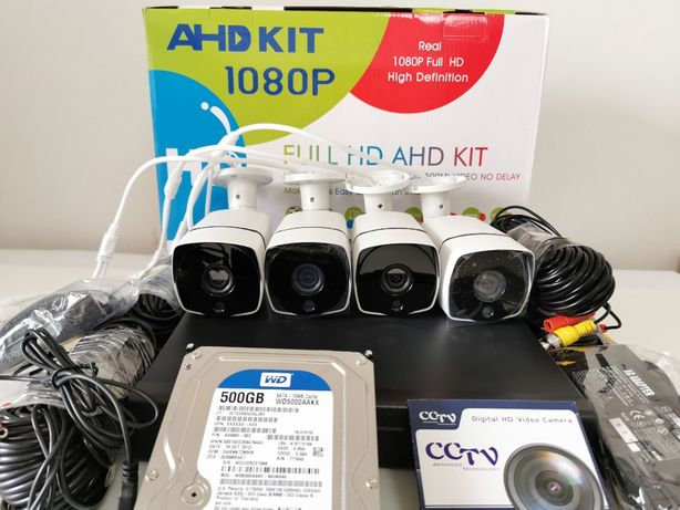 KIT sistem supraveghere 5 Mpx 4Camere + HDD 500GB IR80M PACHET COMPLET