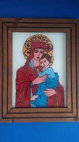 Icoana pictata pe sticla cu Maica Domnului si Pruncul
