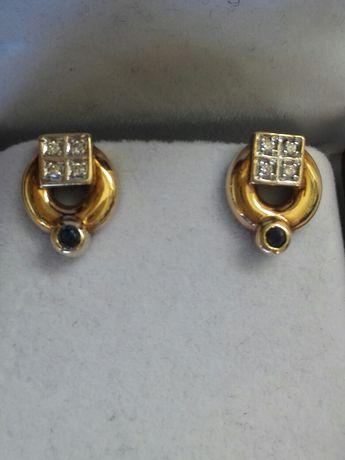 Vînd cercei deosebiți din aur galben cu diamante si safir