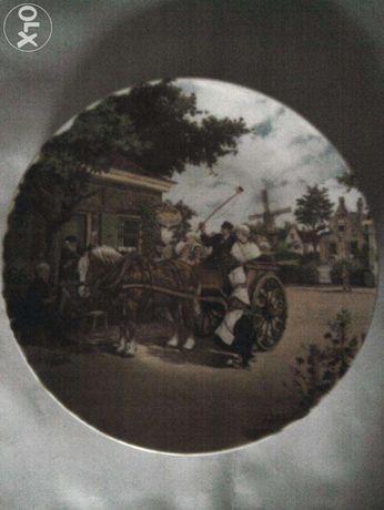 Farfurie decorativa peisaj de tara: case, carute Olanda